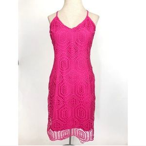 J.O.A. Pink Crotchet Bodycon Summer Dress